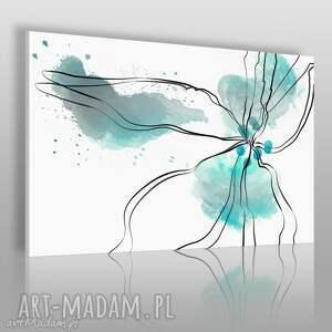 obrazy obraz na płótnie - kwiat turkusowy 120x80 cm 24502, kwiat, abstrakcja