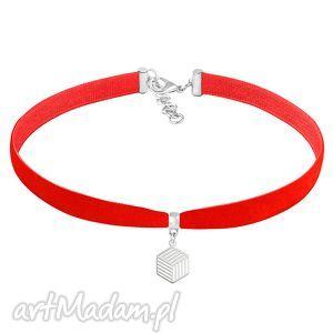 hand-made naszyjniki choker - red velvet