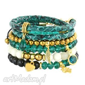 Nia 5 - emerald, cream,black ,kropla,
