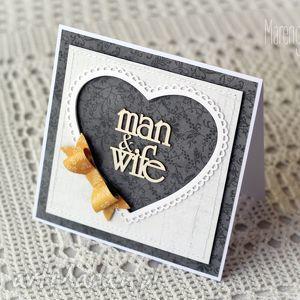 kartka ślubna z żółtą kokardą - kartka, ślubna, kokarda