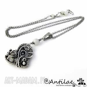 puso - kamień księżycowy, kwarc, srebro - serce, naszyjnik, wirewrapping