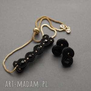 komplet biżuterii sutasz z onyksami, sznurek, elegancki, wyjściowy, delikatny