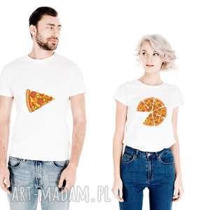 handmade koszulki zestaw koszulek dla par pizza on - jeden kawałek ona - cała pizza
