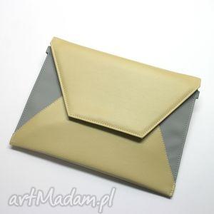 kopertówka - beż i boki szare, elegancka, nowoczesna, wesele, wizytowa, prezent