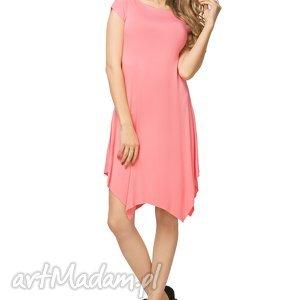letnia sukienka z asymetrycznym dołem t137, różowa, sukienka, letnia, asymetryczny