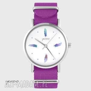 ręcznie wykonane zegarki zegarek - turkusowe piórka amarant, nato