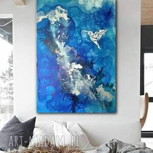 Prezent Srebrny koliber -Obraz do salonu i na prezent - ręcznie malowany, dosalonu