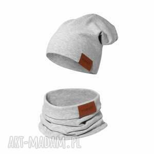 komplet czapka i komin szary, komin, dla dziecka