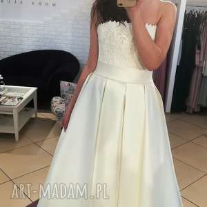 suknia ślubna nowa - model z salonu - wyprzedaż kolekcji rozmiar 38 tren gratis