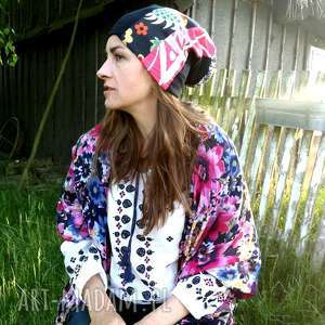 czapka damska dzianina tkanina patchwork, dzianina, etno, boho, rower, sport, choroba