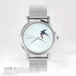 zegarek, bransoletka - jaskółka metalowy, bransoletka, metalowa