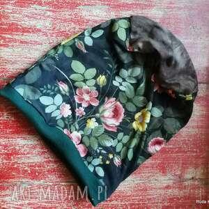 czapka w kwiaty damska dzianinowa sportowa codzienna, etno boho