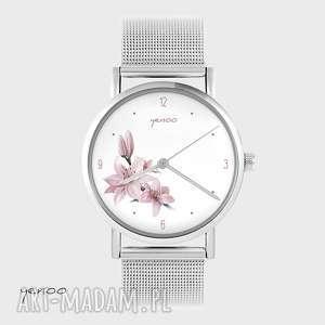 zegarek, bransoletka - różowa lilia metalowy, bransoletka, metalowy