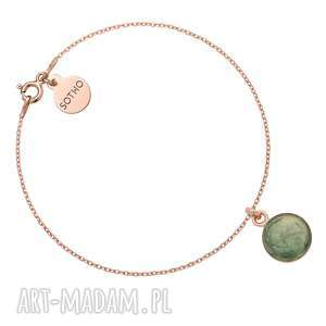sotho bransoletka z różowego złota z zieloną - minimalistyczna