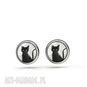 kolczyki sztyfty - czarny kot mini, kolczyki, sztyfty, małe, kot, delikatne
