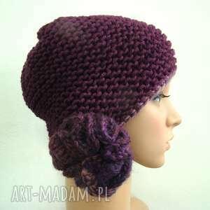 fioletowa czapka, nauszniki, zimowa, prezent, meduzy, uniwersalna