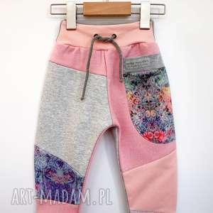hand-made ubranka patch pants spodnie dziecięce róż 74 - 104 cm
