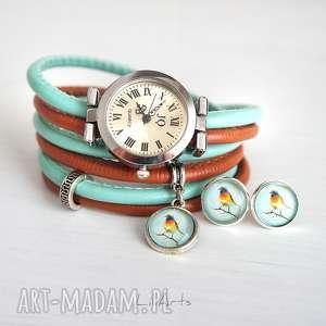 komplet - kolorowy ptaszek zegarek i kolczyki, zegarek, bransoletka