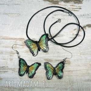 Motyle - komplet biżuterii kameleon motyle, biżuteria kolczyki
