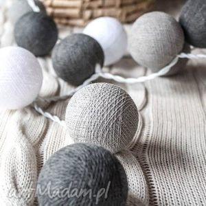 qule cotton ball lights przyjemne szarości 35 qul, lampki, girlandy, kule,