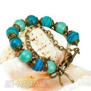c356 bransoletka z niebieskich howlitów, modna, kolorowa