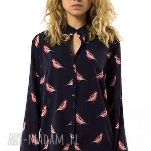 oryginalny prezent, bluzki koszula w ptaki tetta blu, luźna, swobodna