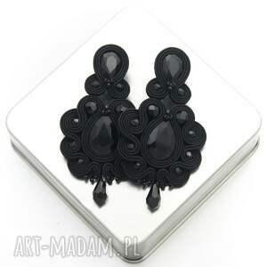 kolczyki desing black soutache, sutasz, stylowe, długie, orientalne