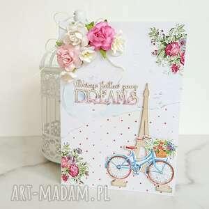 kartka a5 z rowerem i wieżą eiffla, wieża na urodziny
