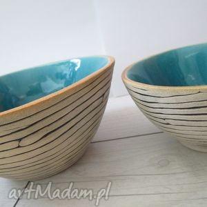 turkusowe zestaw 2 szt - ceramiczne, miski, miseczka, ceramiczna, turkus