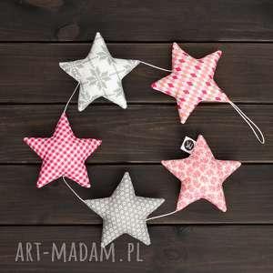 różowo-szara girlanda, 5 gwiazdek, bawełniana szare gwiazdki, różowe