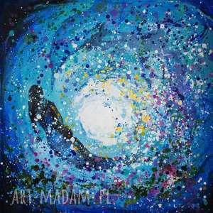 GŁĘBIA obraz na w 100% bawełnianym płótnie 100x100cm artystki plastyka Adriany Laube