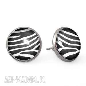 zebra - kolczyki wkrętki egginegg, szklane, paski