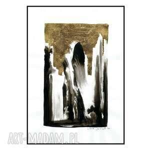 grafika z serii uwikłane w emocje, kobieta, abstrakcja, orginał, złocenie