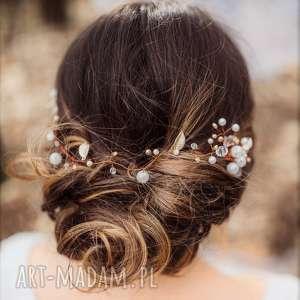aplikacja ozdoba ślubna do włosów dayla firmy lauris, kryształki, fryzura