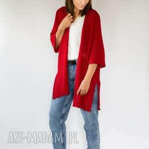 hand-made swetry czerwony kardigan 013