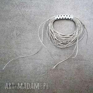 handmade broszki eko wheel - lniana broszka w kropki