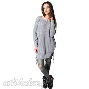 Sweter COMFORT 1   Szary, sweter, bawełna, długi