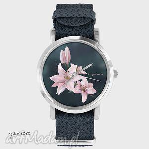 zegarek, bransoletka - lilia grafitowy, kwiat, lilia, nato, pasek, prezent