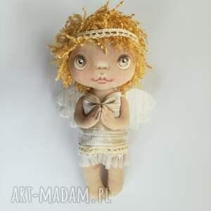 e-piet aniołek - dekoracja ścienna figurka tekstylna ręcznie szyta i malowana