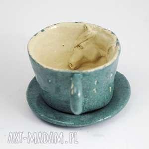 Prezent Ceramiczna filiżanka z koniem-niebiesko-zielona, kubek, filiżanka, zkoniem