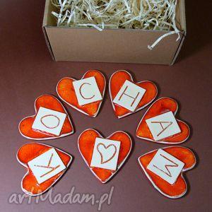 ręcznie zrobione magnesy kocham - zestaw magnesów
