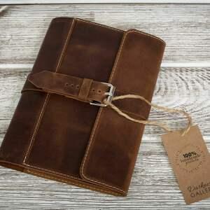 ręcznie robiony skórzany notes, okładka na zeszyt format a5 skóra naturalna