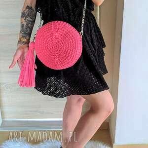 handmade na ramię szydełkowa torebka okrągła