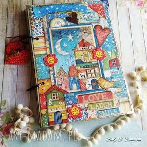 handmade scrapbooking notesy pamiętnik/ sekretnik z domkiem patchworkowym home