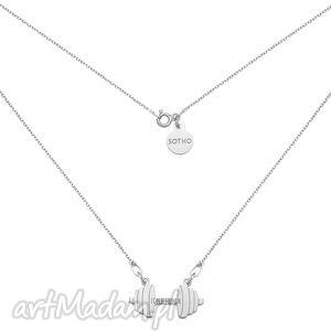 srebrny naszyjnik sztanga i can be stronger, naszyjnik, łańcuszek, sztanga, ftness