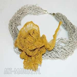 musztardowy naszyjnik, unikatowa-biżuteria, unikalny-naszyjnik