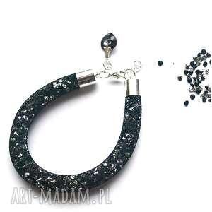 błyszcząca bransoletka stardust w czerni i srebrze, stardust, swarovski