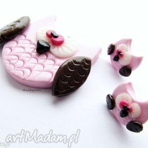 komplet biżuterii różowe sowy, modelina, fimo, sowa, komplet