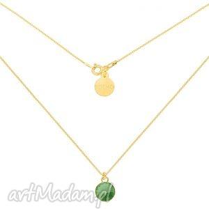złoty naszyjnik z jasnozielonym kryształkiem swarovski crystal, naszyjnik