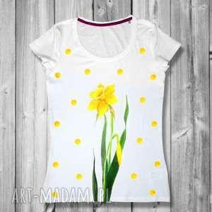 bluzka na prezent - unikatowa ręcznie malowana, kwiaty, kropki, groszki, bawełniana